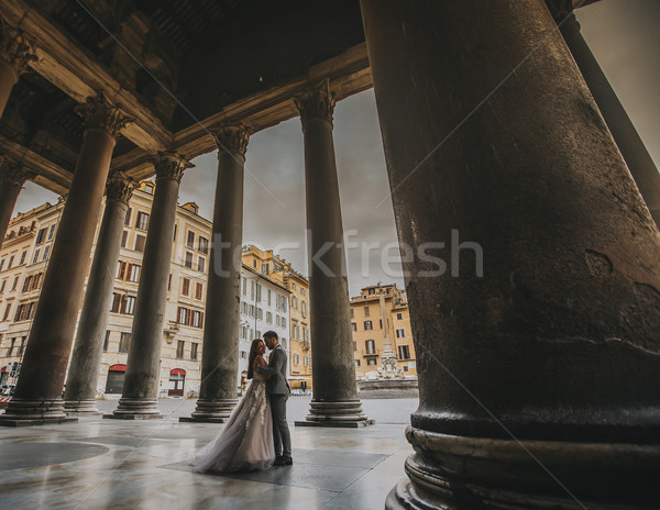 Stock photo: Young wedding couple by Pantheon in Rome, Italy