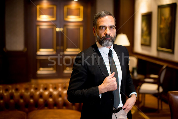 Bearded handsome middle-aged businessman Stock photo © boggy
