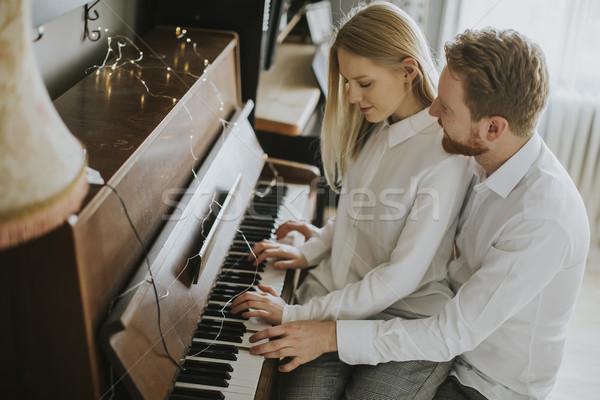 Stock fotó: Szerető · pár · játszik · zongora · szoba · otthon