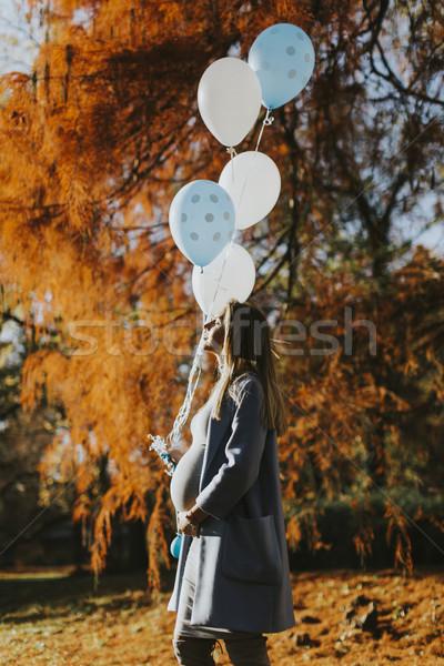 Stockfoto: Zwangere · vrouw · najaar · park · ballonnen · hand · jonge