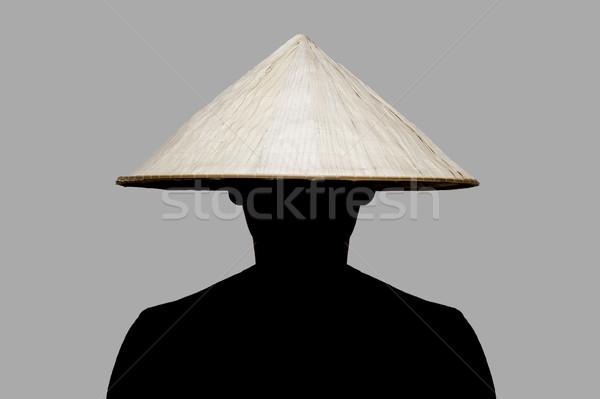 Férfi hagyományos kalap Ázsia fonott ruha Stock fotó © boggy