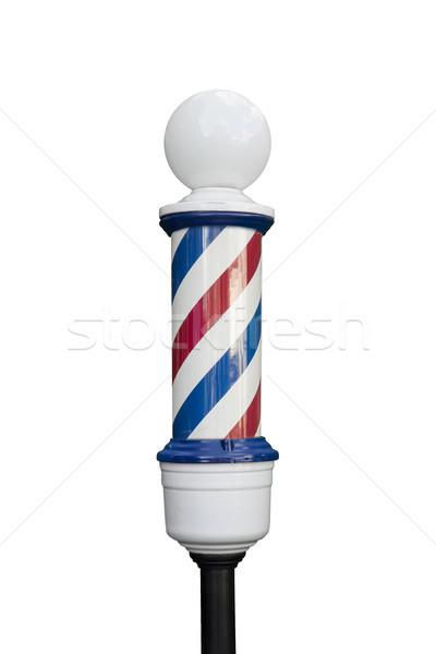 парикмахера полюс мнение изолированный белый знак Сток-фото © boggy