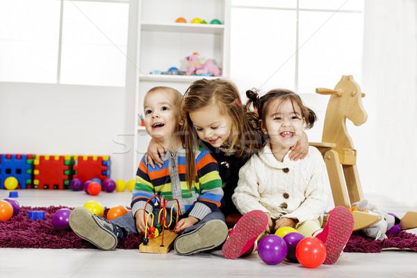 Stockfoto: Kinderen · spelen · kamer · cute · kinderen · kinderen · gelukkig
