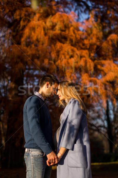 Stockfoto: Liefhebbend · paar · park · zwangere · vrouw · man · poseren