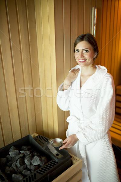 Güzel genç kadın sauna rahatlatıcı su dinlenmek Stok fotoğraf © boggy