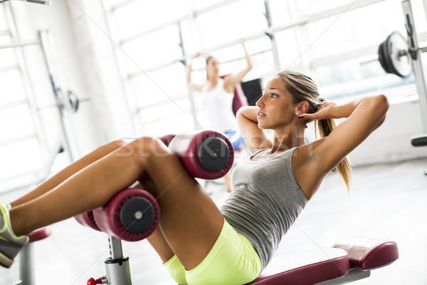 Ausübung Fitnessstudio Bank Frau Sport Stock foto © boggy