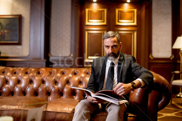 красивый бизнесмен чтение книга диван Сток-фото © boggy