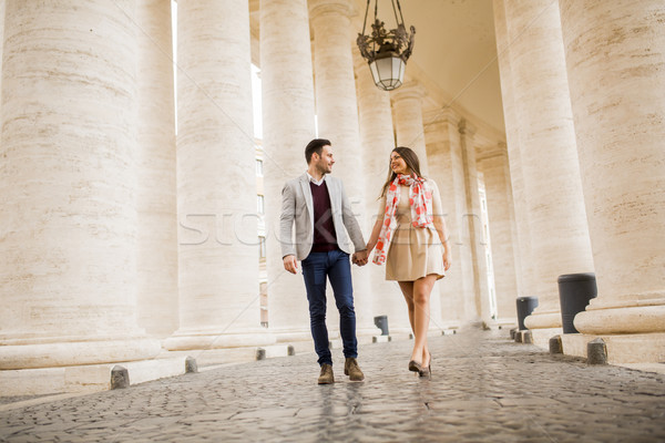 Happy loving couple, man and woman traveling on holiday in Rome, Stock photo © boggy