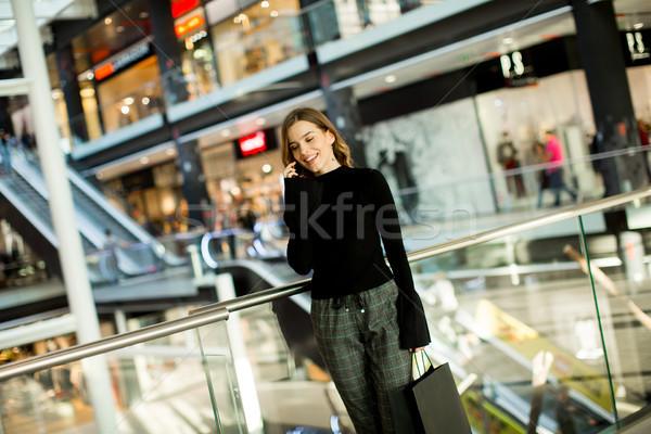 модный мобильного телефона женщину телефон Сток-фото © boggy