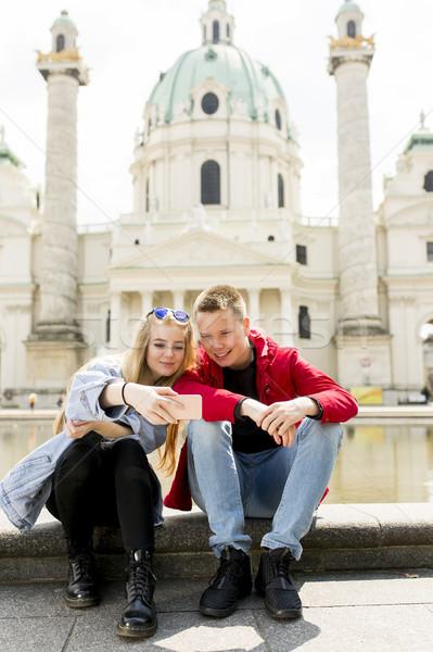 Couple happy in love taking selfie self-portrait photo in Vienna Stock photo © boggy