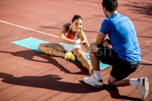 Stok fotoğraf: Kadın · eğitim · personal · trainer · genç · kadın · spor