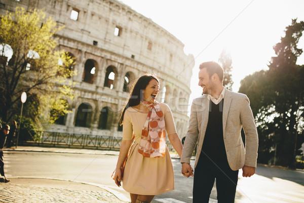 любящий пару Колизей Рим Италия Сток-фото © boggy