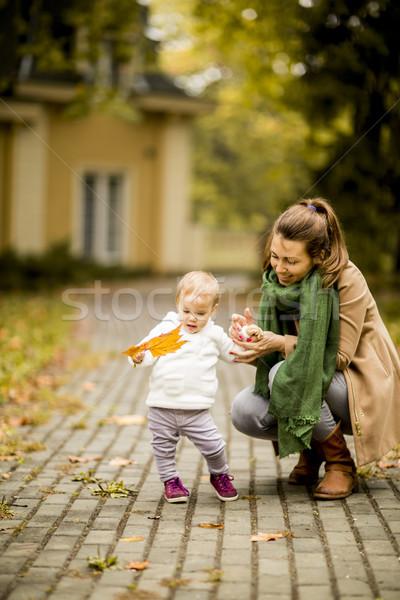 ストックフォト: 母親 · 女の子 · 秋 · 公園 · 葉