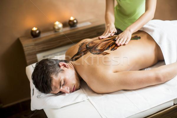 Forró csokoládé masszázs egészség pihen fürdő személy Stock fotó © boggy