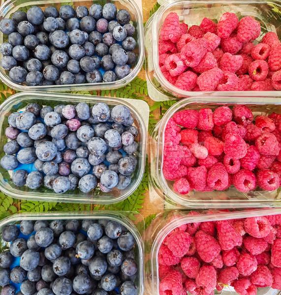 Framboesa mirtilos mercado topo ver verão Foto stock © boggy