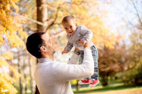 小さな 父 赤ちゃん 少年 秋 公園 ストックフォト © boggy