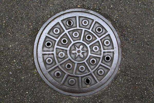 Círculo aço cobrir metal esgoto Foto stock © boggy