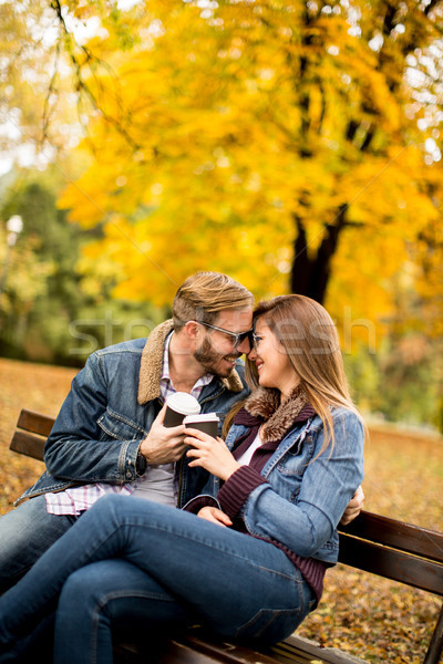 Couple in autumn park Stock photo © boggy