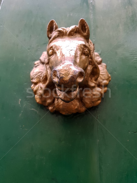 öreg klasszikus ajtó fogantyú Florence Olaszország Stock fotó © boggy