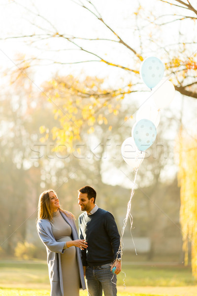 Foto stock: Amoroso · casal · balões · parque · feliz · mãe