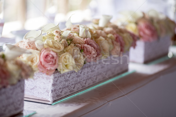 Close up view at flower decorations for holidays and wedding din Stock photo © boggy