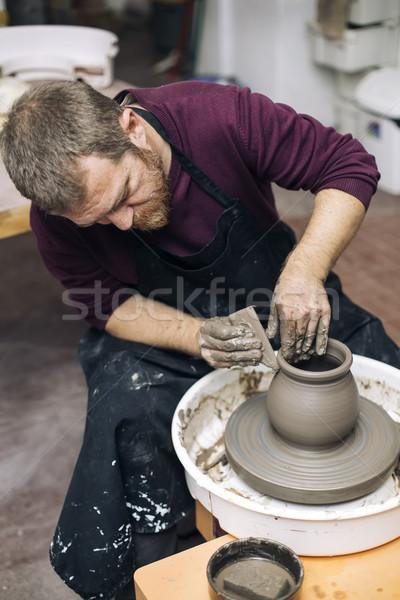 Künstler Ton Keramik Spin Rad Ansicht Stock foto © boggy