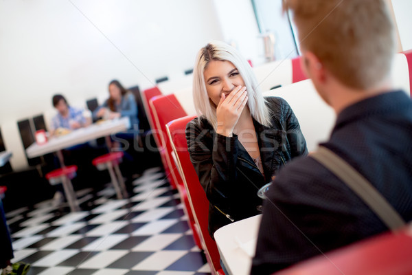 Friends eating fast food the diner Stock photo © boggy