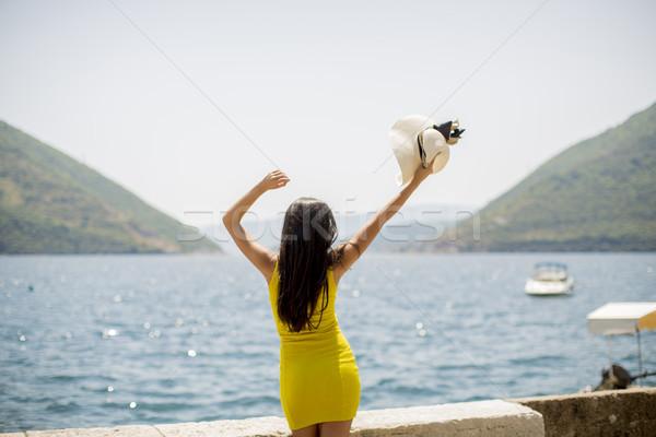 Fiatal vonzó nő kalap tenger napos idő nyár Stock fotó © boggy