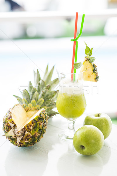 Freshly squeezed pineapple and apple juice Stock photo © boggy