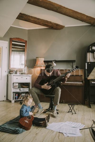 молодые отец мало дочь играет Сток-фото © boggy