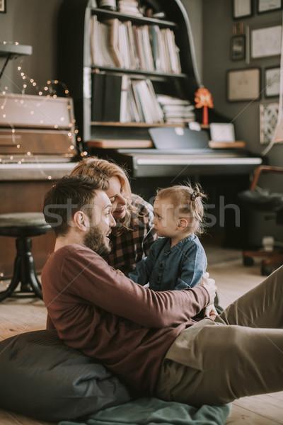 幸せ 小さな 家族 演奏 階 ルーム ストックフォト © boggy