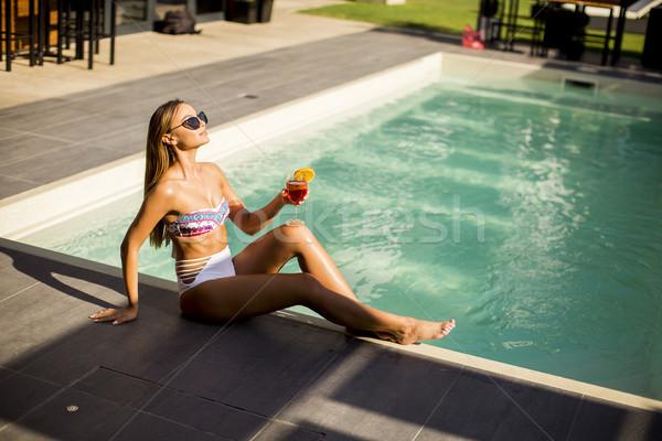 Stockfoto: Jonge · vrouw · zwembad · mooie · vrouw · lichaam · schoonheid