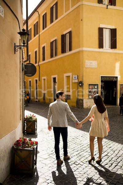 любящий пару вместе Рим Италия человека Сток-фото © boggy