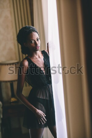 Hamile kadın kadın iç çamaşırı poz oda fotoğraf Stok fotoğraf © boggy