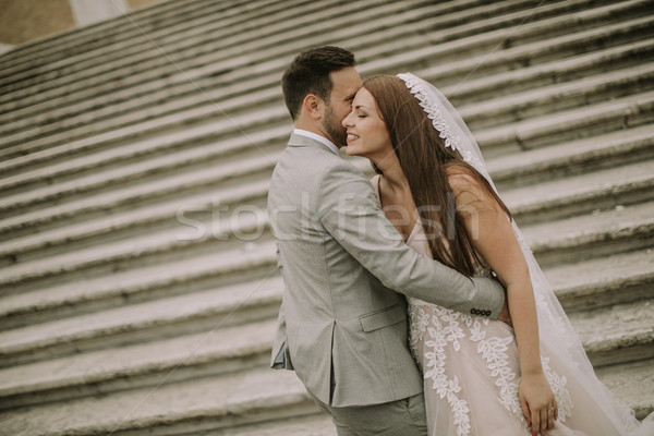 Młodych ślub para hiszpanski schody Rzym Zdjęcia stock © boggy