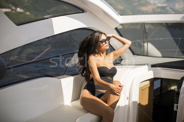 Bastante relajante yate mujer Foto stock © boggy