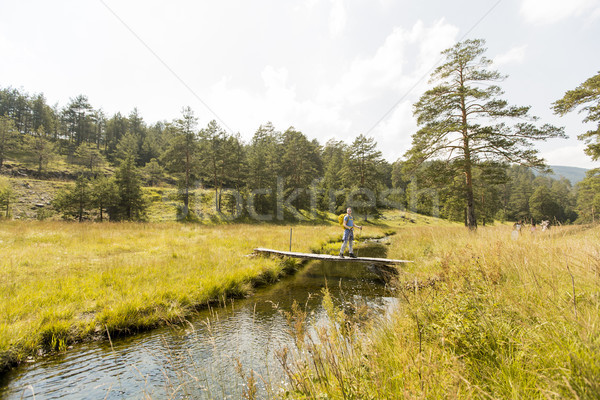 Jonge man kruisen berg stream Stockfoto © boggy