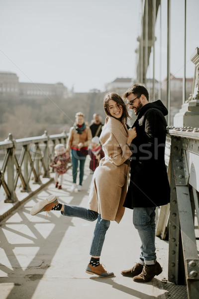 Сток-фото: любящий · пару · цепь · моста · Будапешт · Венгрия