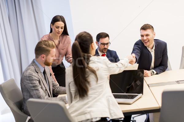 деловые люди рукопожатием вверх заседание служба Сток-фото © boggy