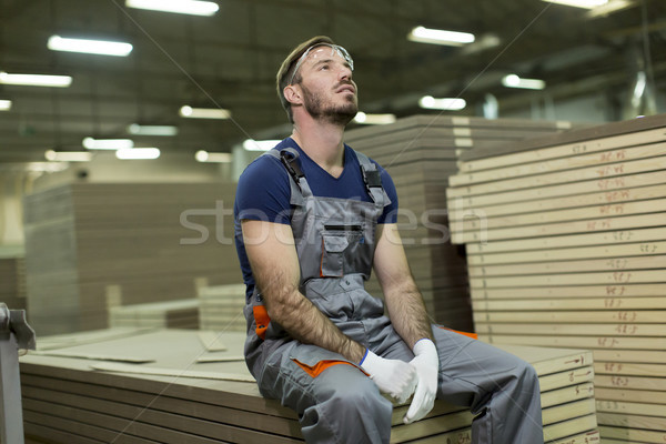 Young worker in lumber factory Stock photo © boggy