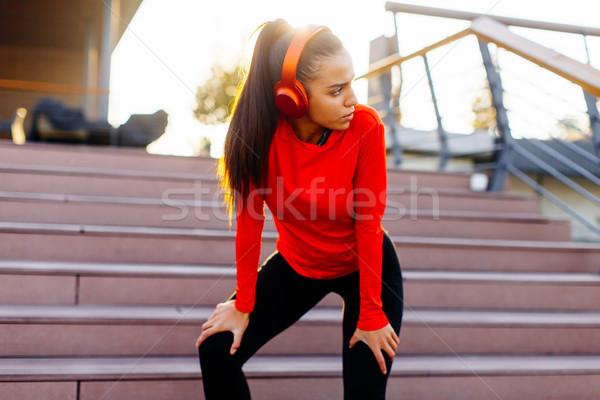 Foto stock: Bastante · mulher · jovem · quebrar · corrida · urbano · fitness