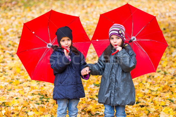 Happy little girls laughing with  umbrellas in the rain Stock photo © boggy