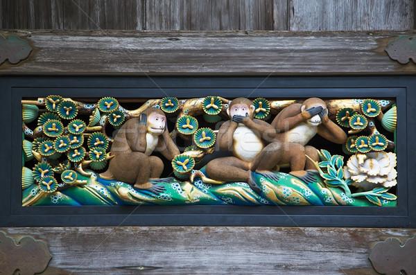Sabio monos santuario arquitectura japonés Asia Foto stock © boggy