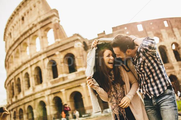Szerető pár Colosseum Róma nő férfi Stock fotó © boggy