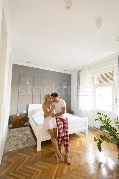 Afetuoso amantes cama casa ver Foto stock © boggy