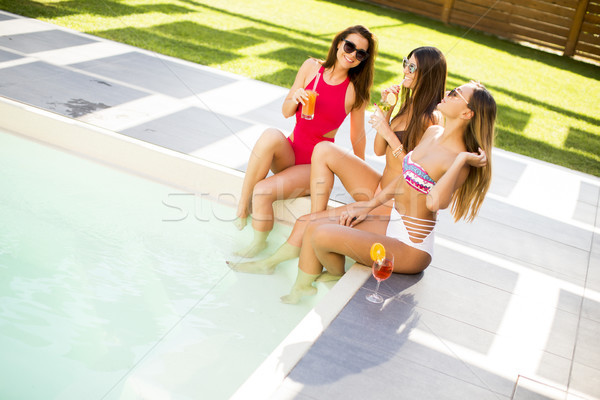 Stock fotó: Fiatal · nő · szórakozás · medence · iszik · forró · nyár