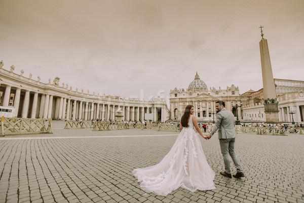 молодые свадьба пару святой собора Ватикан Сток-фото © boggy
