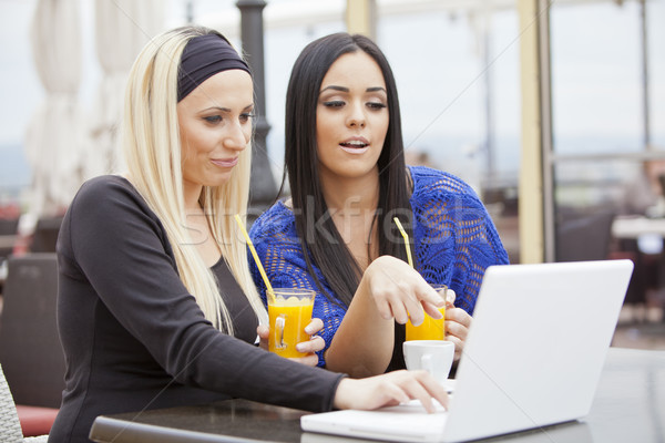 Girls in restaurant with laptop Stock photo © boggy