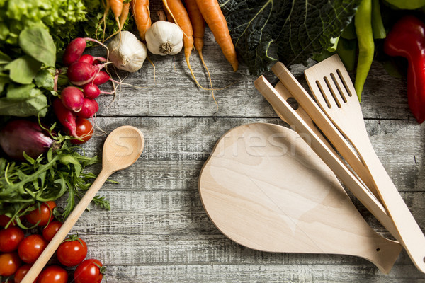 Food ingredients on the wooden table closeup shot from above Stock photo © boggy
