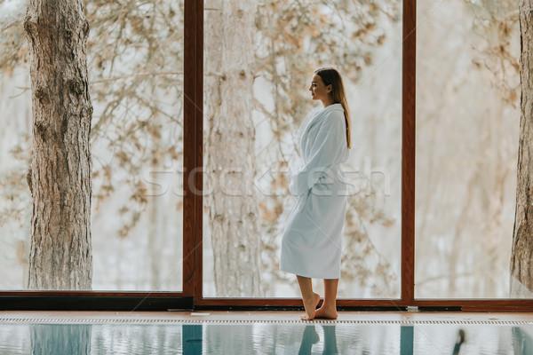 Stockfoto: Mooie · jonge · vrouw · permanente · zwembad · vrouw · water
